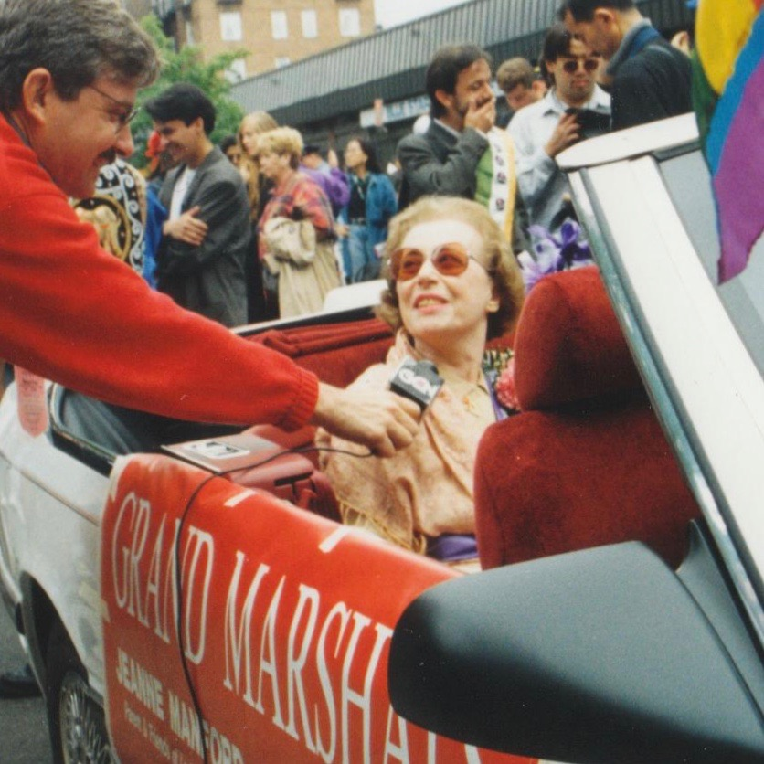 Jeanne Manford as grand marshal in the first Queens, New York, Gay Pride Parade in 1993