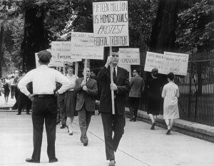 First picket by members of the Washington Mattachine organization in front of the White House on April 17, 1965.