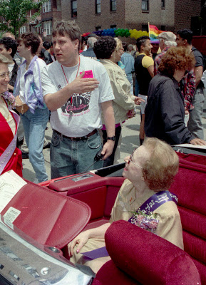 Jeanne Manford as grand marshall in the first Queens, New York, Gay Pride Parade in 1993