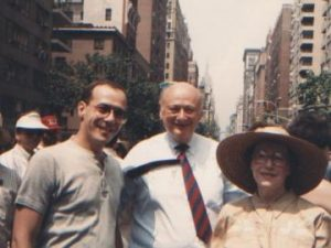 Morty Manford (left) and Jeanne Manford with New York City Mayor Ed Koch in an undated photo.
