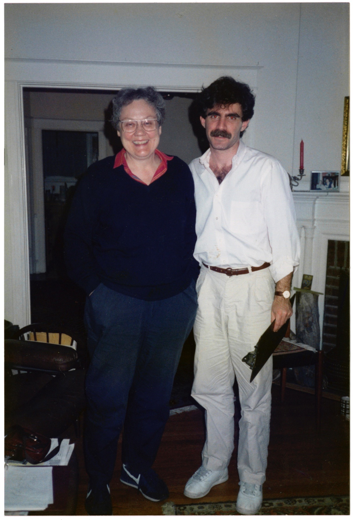 Eric Marcus with Barbara Gittings at home in Philadelphia, May 17, 1989.