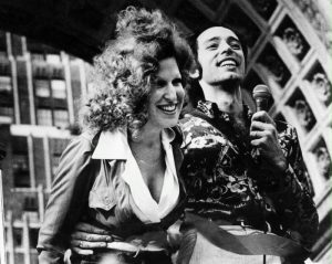 Vito Russo and Bette Midler at the Gay Pride rally in Washington Square Park, New York City, June 24, 1973.