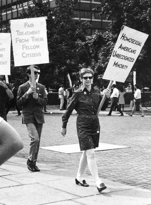 Kay Lahusen on the picket line in front of Independence Hall in Philadelphia, July 4, 1969.