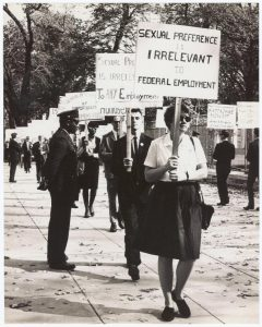 Barbara Gittings at the third White House picket on October 23, 1965.