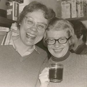 Barbara Gittings and Kay Lahusen at a party in the mid-1970s.