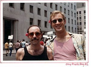 Vito Russo and his boyfriend Jeff Sevick at Gay Pride Day in New York City, 1982.